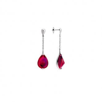 Boucles d'oreilles Baccarat Fleurs de Psydélic rouge irisé 2610116