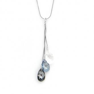 Collier Indicolite 3 Larmes cristal blanc,noir,gris CO-3LARM-001