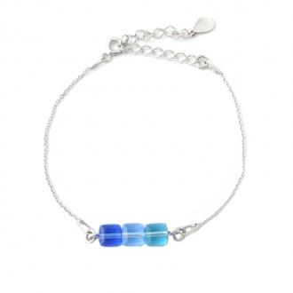 Bracelet Indicolite Pixel 3 carre cristal bleu BR-3CARRE-206