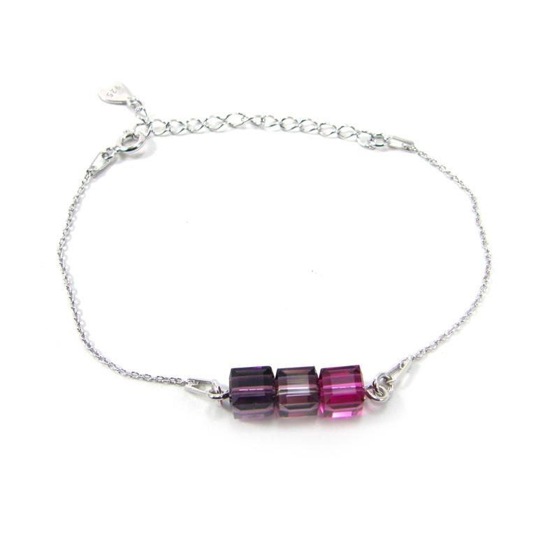 Bracelet Indicolite Pixel 3 carre cristal violet BR-3CARRE-204
