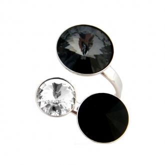 Bague Indicolite Ricochet noir et blanc BAG-RICO-208