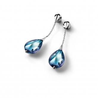 Boucles d'oreilles Baccarat Fleurs de Psydélic aqua miroir 2608368