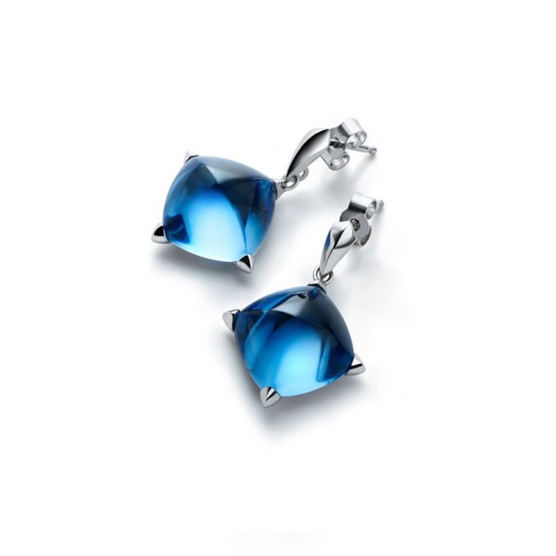 Boucles d'oreilles Baccarat Médicis bleu riviera 2612770