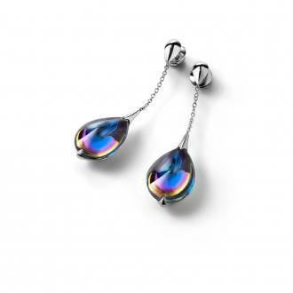 Boucles d'oreilles Baccarat Fleurs de Psydélic scarabée bleu 2805025