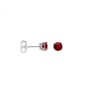 Boucles d'oreilles Carador classique argent 925/000 et pierre de verre rouge GES06484RU