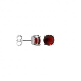 Boucles d'oreilles Carador classique argent 925/000 et pierre de verre rouge GES06486RU