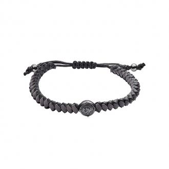 Bracelet Homme Diesel cuir tressé noir et gris DX1065060