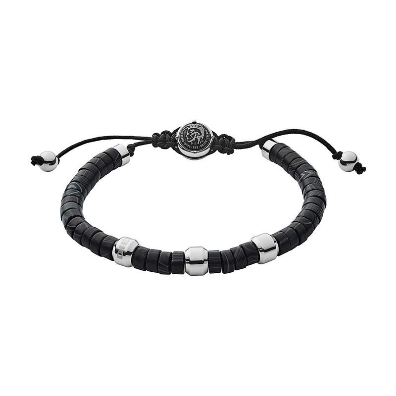 Bracelet Homme Diesel perles d'agathe noires DX1121040