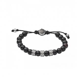 Bracelet Homme Diesel acier et agathe noire DX1101040