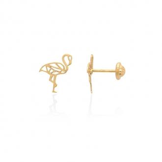 Boucles d'oreilles Carador Flamant rose or jaune 375/000