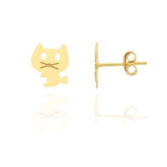 Boucles d'oreilles Carador motif chat Or jaune 375/000e