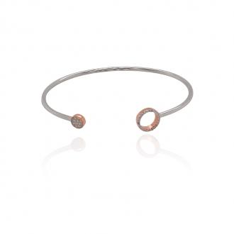 Bracelet jonc Silver Pop motif cercles argent 925/000 blanc et rose et oxydes de zirconium
