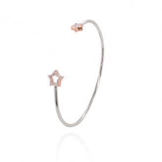 Bracelet jonc Silver Pop motif étoiles argent 925/000 blanc et rose et oxydes de zirconium