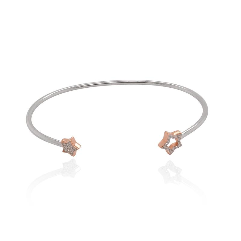 Bracelet jonc Carador motif étoiles argent 925/000 blanc et rose et oxydes de zirconium