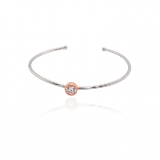 Bracelet jonc Silver Pop argent 925/000 blanc et rose et oxydes de zirconium