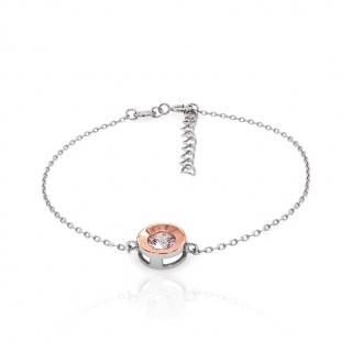 Bracelet souple Carador argent 925/000 blanc et rose et oxydes de zirconium