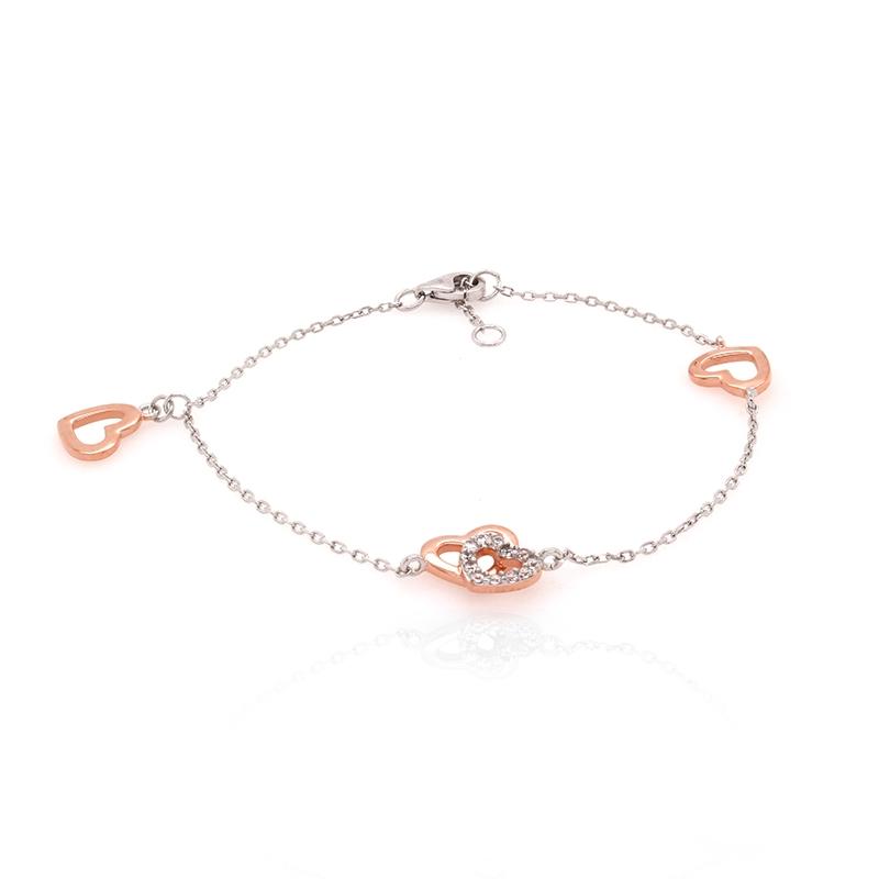 Bracelet souple Silver Pop coeurs argent 925/000 blanc et rose et oxydes de zirconium