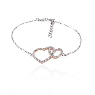 Bracelet souple Silver Pop coeurs enlacés argent 925/000 blanc et rose et oxydes de zirconium