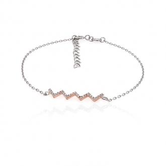 Bracelet souple Silver Pop Zig Zag argent 925/000 blanc et rose et oxydes de zirconium