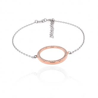 Bracelet souple Silver Pop cercle argent 925/000 blanc et rose et oxydes de zirconium