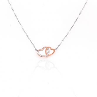 Collier Silver Pop coeurs enlacés argent 925/000 blanc et rose et oxydes de zirconium