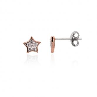 Boucles d'oreilles Silver Pop étoile argent 925/000 blanc et rose et oxydes de zirconium