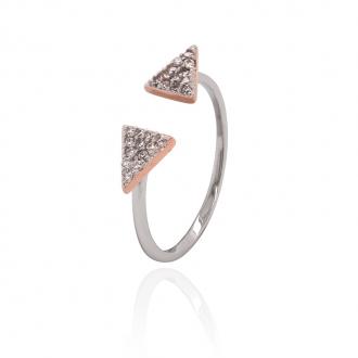 Bague ouverte Silver Pop triangles argent 925/000 blanc et rose et oxydes de zirconium