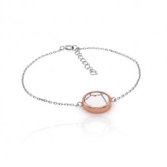Bracelet Silver Pop motif rond en Argent 925/000 bicolore et Howlite