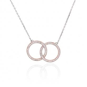Collier Silver Pop ronds enlacés argent 925/000 bicolore et oxydes de zirconium