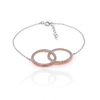 Bracelet Silver Pop ronds enlacés argent 925/000 bicolore et oxydes de zirconium