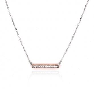 Collier Silver Pop barrette argent 925/000 bicolore et oxydes de zirconium