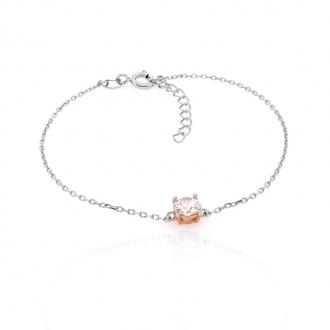 Bracelet souple Silver Pop solitaire argent 925/000 blanc et rose et oxydes de zirconium