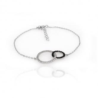 Bracelet souple Carador cercles enlacés argent 925/000 et oxydes de zirconium bicolores