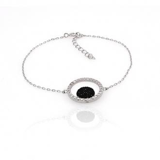 Bracelet souple Carador fantaisie argent 925/000 et oxydes de zirconium bicolores