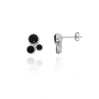 Boucles d'oreilles Carador 3 sphères argent 925/000 et oxydes de zirconium noirs