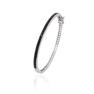 Bracelet jonc Carador argent 925/000 et oxydes de zirconium noirs