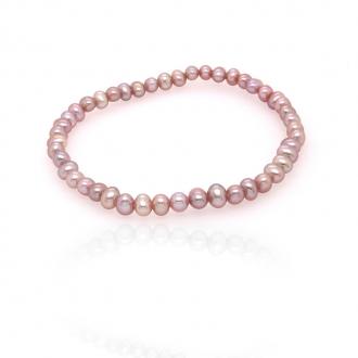 Bracelet élastique Carador perles de culture d'eau douce purple 3,5-4 mm
