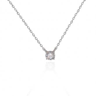 Collier Silver Pop solitaire argent 925/000 blanc et rose et oxydes de zirconium