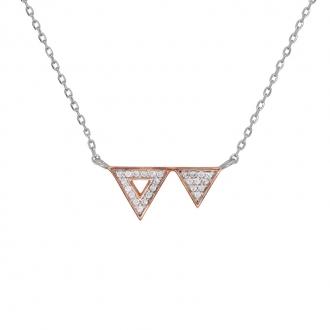 Collier Silver Pop Double Triangle Argent 925/000 bicolore et oxydes de zirconium