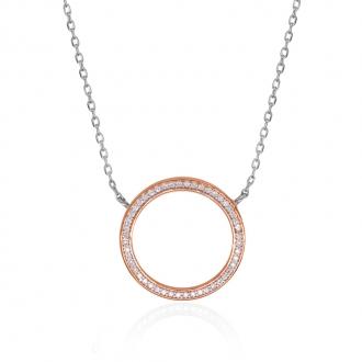 Collier Silver Pop cercle argent 925/000 blanc et rose et oxydes de zirconium