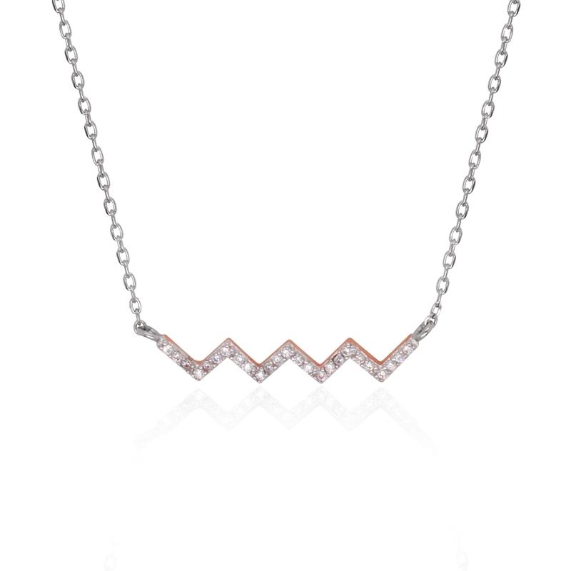 Royaume-Uni disponibilité 0634c 2630e Collier Silver Pop Zig Zag argent 925/000 blanc et rose et oxydes de  zirconium
