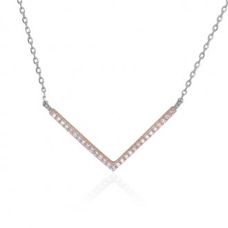 """Collier Silver Pop """"V"""" argent 925/000 blanc et rose et oxydes de zirconium"""