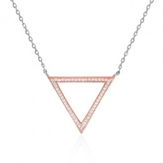 Collier Silver Pop Triangle argent 925/000 blanc et rose et oxydes de zirconium