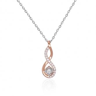 Collier Silver Pop Infini fantaisie argent 925/000 blanc et rose et oxydes de zirconium