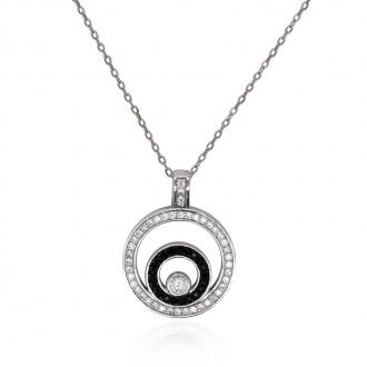 Collier femme Carador cercles argent 925/000 et oxydes de zirconium bicolores