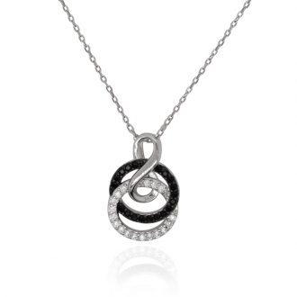Collier femme Carador anneaux et infini argent 925/000 et oxydes de zirconium bicolores
