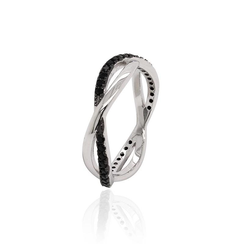 Bague Carador anneaux croisés Argent 925/000e Oxydes bicolores