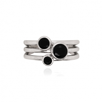 Bague Carador trois cercles Argent 925/000e Oxydes de zirconium noirs