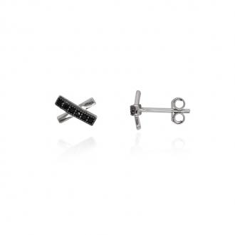 Boucles d'oreilles Carador éléments croisés Argent 925/000e Oxydes de zirconium noirs