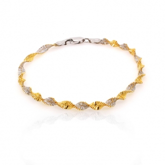 Bracelet femme Carador maille torsadée argent 925/000 bicolore